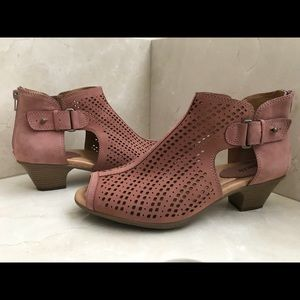 Earth Suede Perforated Wedge Sandal